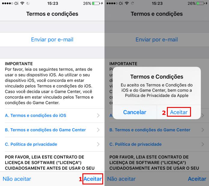 Aceitando os termos de uso do iOS 10 (Foto: Reprodução/Edivaldo Brito)  (Foto: Aceitando os termos de uso do iOS 10 (Foto: Reprodução/Edivaldo Brito) )