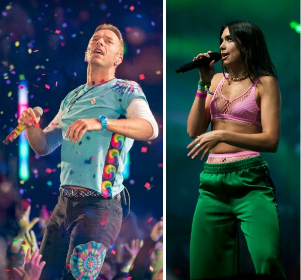 Chris Martin e Dua Lipa (Foto: Getty Images)