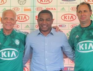 Ademir, César Sampaio e Evair apresentação novo uniforme Palmeiras (Foto: Diego Ribeiro / Globoesporte.com)