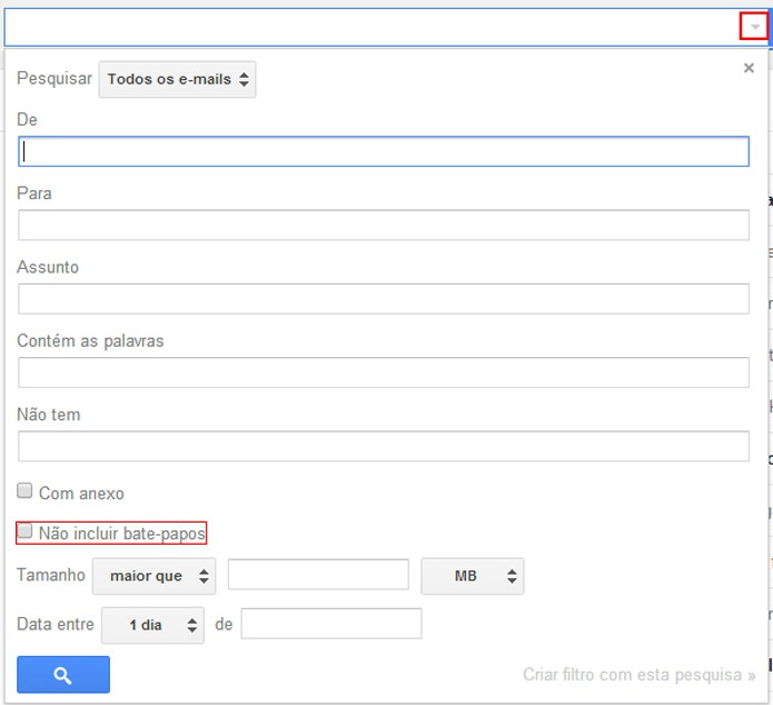 Bate-papo pode ser excluído dos resultados de busca (foto: Reprodução/Gmail) (Foto: Bate-papo pode ser excluído dos resultados de busca (foto: Reprodução/Gmail))