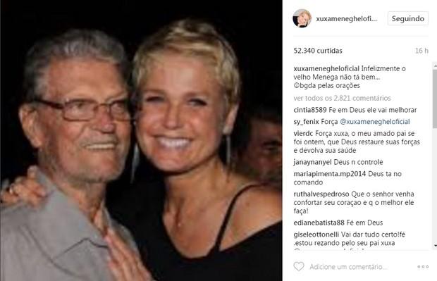 Xuxa avisa que o pai não está bem  (Foto: Reprodução/Instagram)