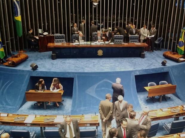Plenário do Senado instantes antes de iniciar sessão que decidirá sobre prisão de Delcídio do Amaral (Foto: Laís Alegretti/G1)