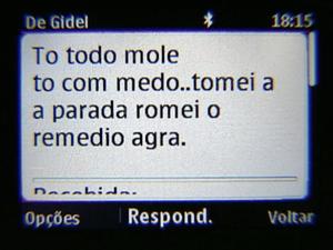 Mensagens de celular que Gidel enviou para um amigo pouco antes de ser internado. (Foto: Reprodução/TV Gazeta)