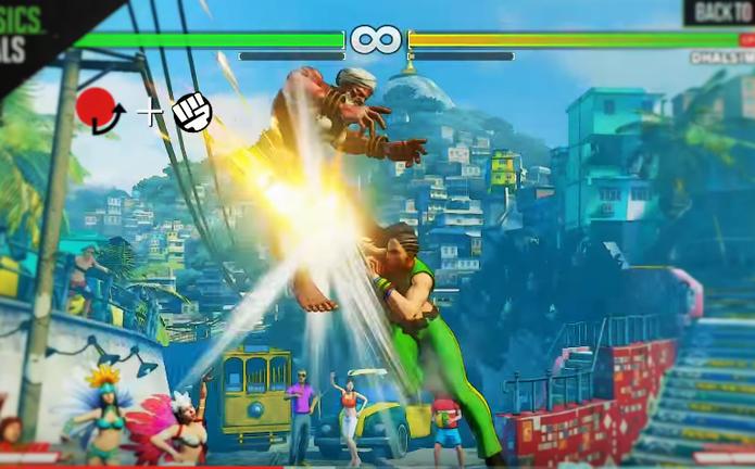 Street Fighter 5: Laura performa seu Bolt Charge antiaéreo (Reprodução/Youtube)