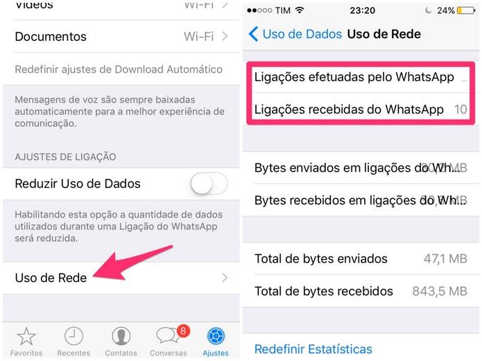 Para finalizar, toque em Uso de Rede e veja o número de ligações feitas pelo WhatsApp (Foto: Reprodução/Lucas Mendes)