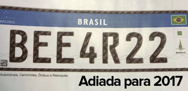 Adoção no Brasil de modelo de placa unificada para Mercosul foi adiada para 2017 (Foto: Reprodução/Denatran)