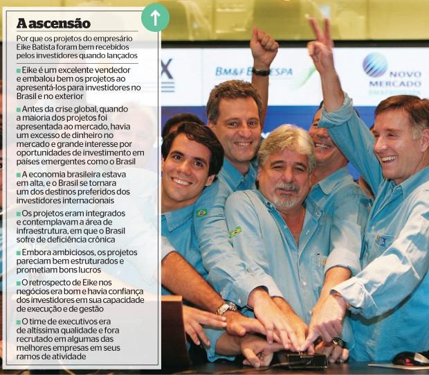 NO AUGE Lançamento de ações da petrolífera OGX na BM&F Bovespa, em junho de 2008. O momento favorável do mercado facilitou o maior lançamento de ações da história da Bolsa (Foto: Michel Filho/Ag. O Globo)