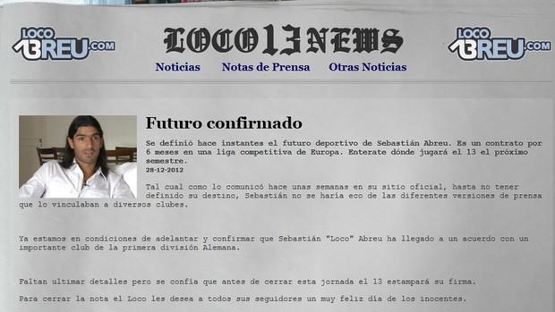 Loco Abreu Alemanha notícia site oficial (Foto: Reprodução / Site Oficial)