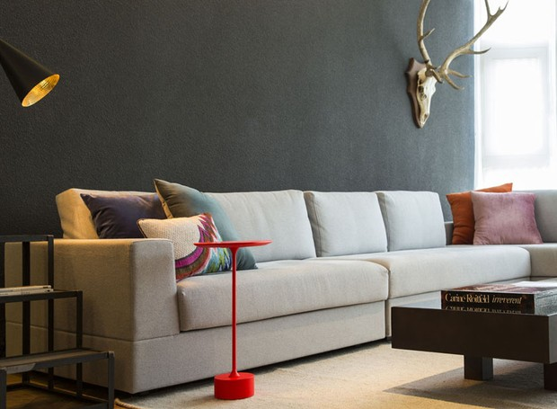 Para completar a sala de estar, mesa lateral vermelha e escada da Micasa. Luminária à venda na Lumini. Cabeça de alce acervo familiar (Foto: Salvadore Bussacca/Divulgação)
