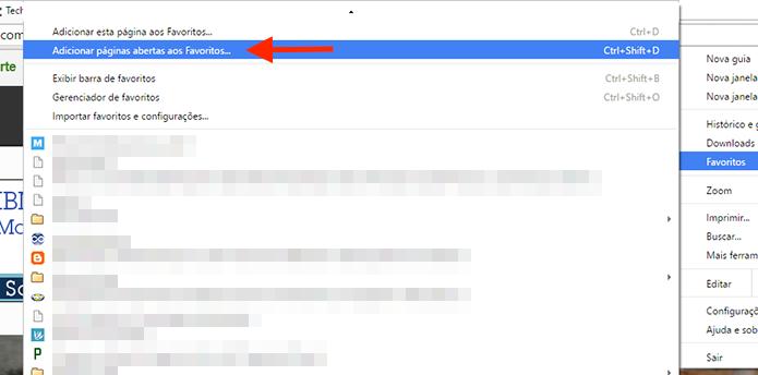 Adicionando como favoritos todos os sites abertos em abas do Google Chrome (Foto: Reprodução/Marvin Costa)