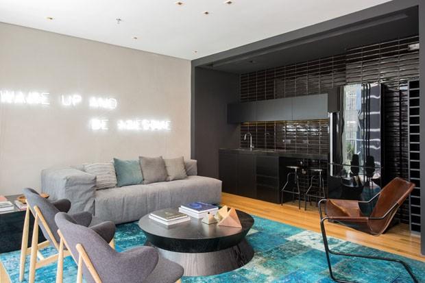 Integração total no apartamento de 60 m² (Foto: divulgação)