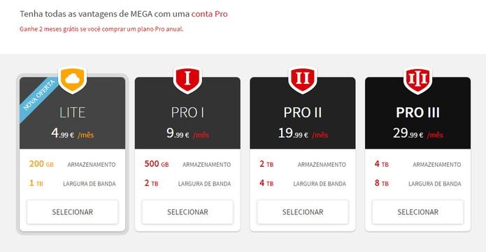 Pacotes do Mega com plano gratuito e Pro (Foto: Reprodução/Barbara Mannara)