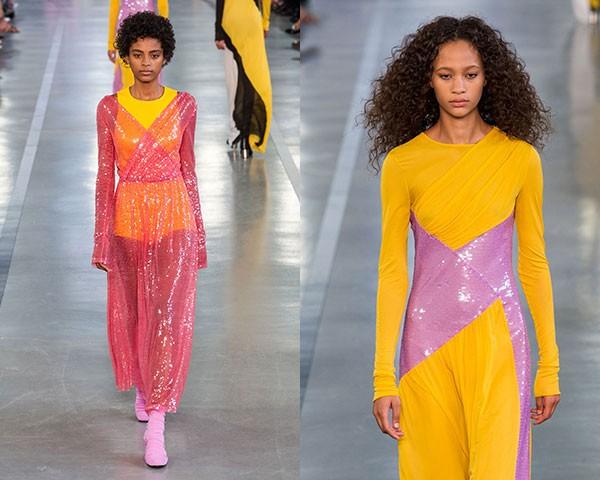 Na Pucci, o destaque ficou para a combinação de paetês com tecidos muito chamativos (Foto: Imaxtree)