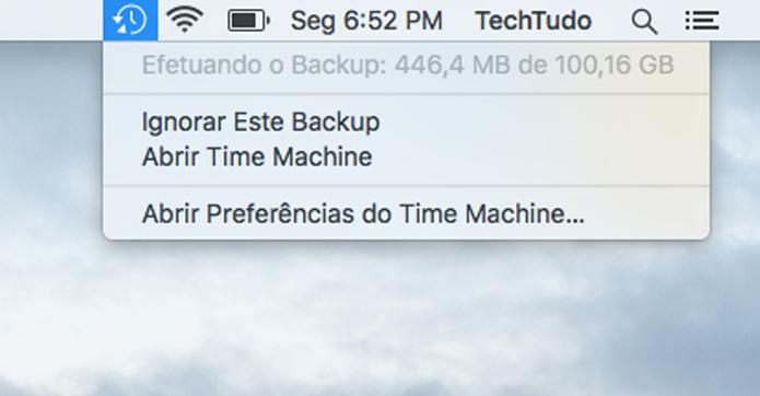 Verificando o progresso do backup pela barra de menus (Foto: Reprodução/Diego Abreu)