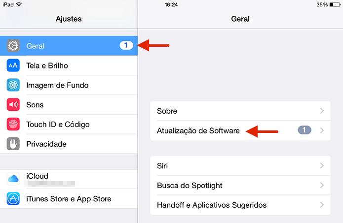 Verificando a atualização de software para instalar o iOS 9 (Foto: Reprodução/Marvin Costa)