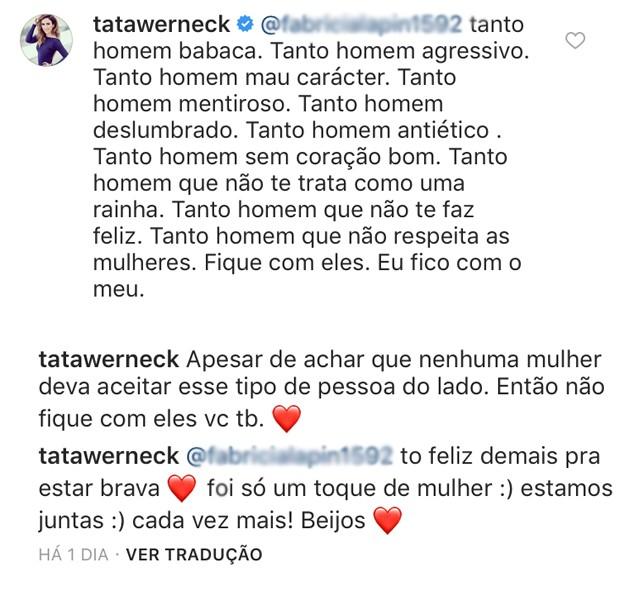 Respostas de Tatá Werneck (Foto: Reprodução / Instagram)