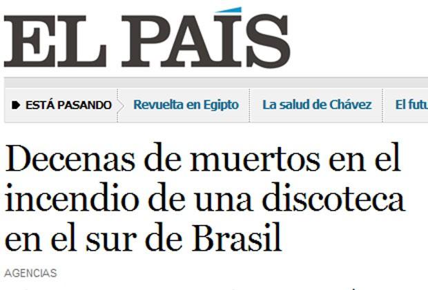 O jornal espanhol 'El País' deu destaque para o caso em sua edição na internet (Foto: Reprodução)