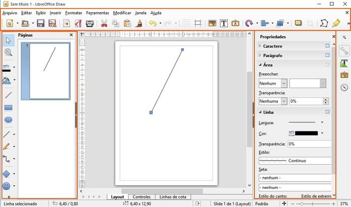 Recurso para a criação de desenhos no LibreOffice (Foto: Reprodução/Barbara Mannara)