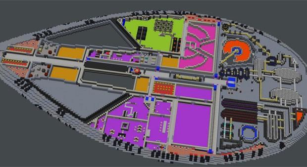 Partes internas de uma das naves do servidor 'MineTrek', de 'MineCraft' (Foto: Divulgação)