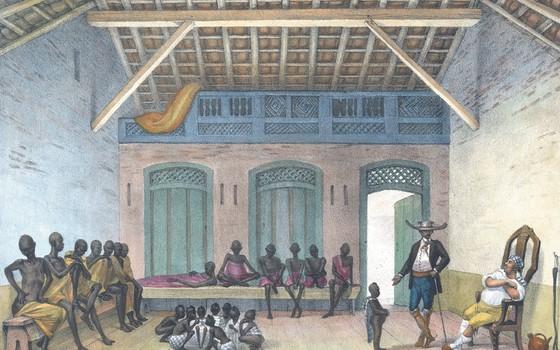 Mercado da rua do Valongo (Foto: Jean-Baptiste Debret / Acervo da Fundação Biblioteca Nacional/Divisão de Iconografia)