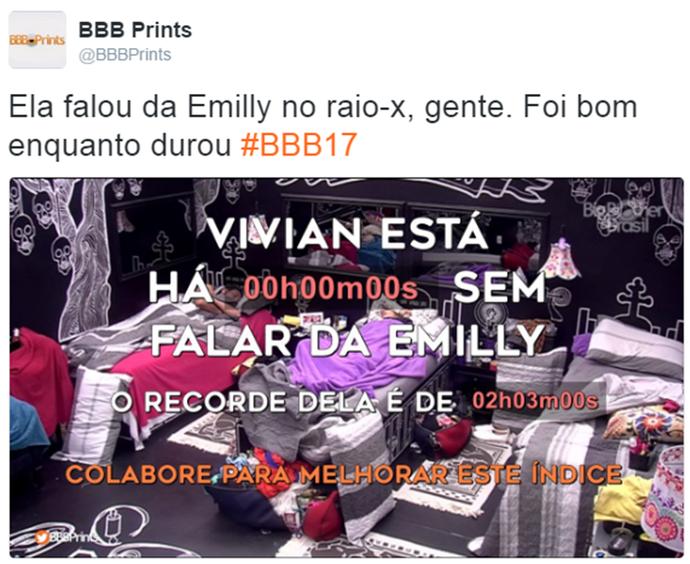 Internauta comenta desavença entre Emilly e Vivian (Foto: Reprodução da Internet / Twitter @BBBPrints)