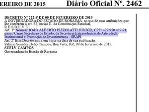 Decreto de nomeação de Pizzolatti é de 9 de fevereiro de 2015, publicado no Diário do dia 10 (Foto: Reprodução/Diário Oficial do Estado)