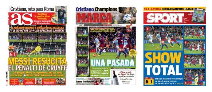 jornais, pênalti, Messi, Suárez, Barcelona x Celta