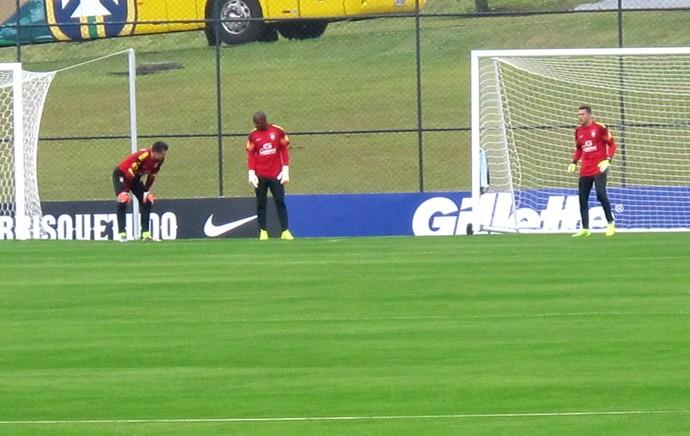 goleiros no treino da Seleção (Foto: Marcelo Baltar)