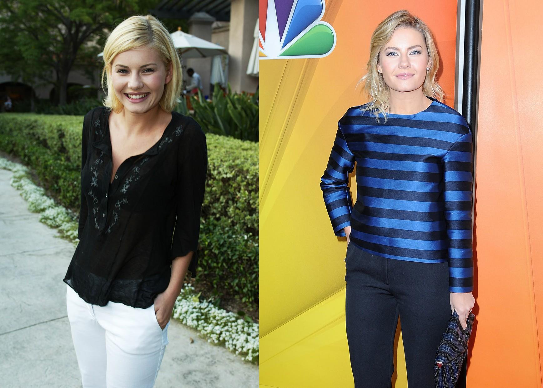 Elisha Cuthbert em 2002 e em 2015 (Foto: Getty Images)
