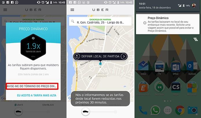 Uber pode avisar usuário quando o preço dinâmico cair ou alertar que não houve alteração (Foto: Reprodução/Elson de Souza)