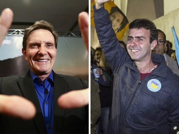 MONTAGEM - Crivella e Freixo comemoram resultado (Foto: Wilton Júnior/Estadão Conteúdo; Márcio Mercante/Agência O Dia/Estadão Conteúdo)