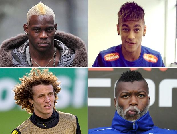 montagem Cabelo Balotelli, Neymar, Cissé e David Luiz (Foto: Editoria de Arte / Globoesporte.com)