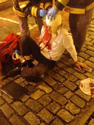 Motorista foi agredido no Centro de Santos (Foto: G1)