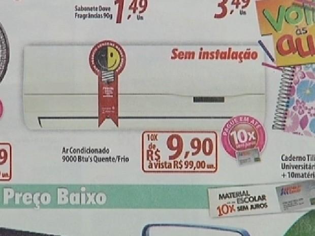 Anúncio mostra produto a R$ 99: erro de digitação (Foto: Reprodução/TV TEM)