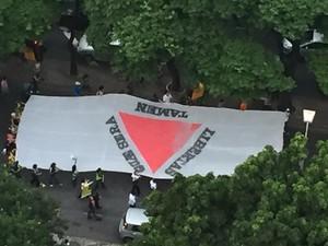 Grupo faz manifestação, nesta quarta-feira (16), contra noemação de Lula como ministro em Belo Horizonte (Foto: Paulo Henrique Khoury/Arquivo Pessoal)