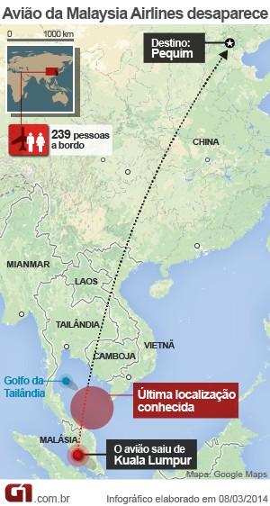 VALE ESTE - mapa avião desaparecido malásia - 11.03 (Foto: Arte/G1)
