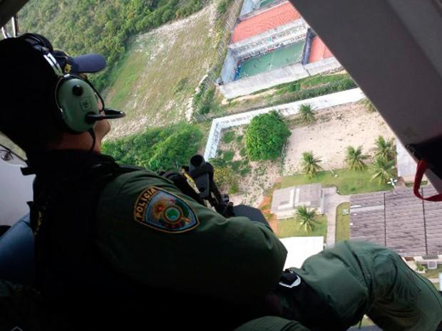 Helicópteros da PRF e Força Nacional reforçam patrulhamento no RN (Foto: Divulgação/PRF)