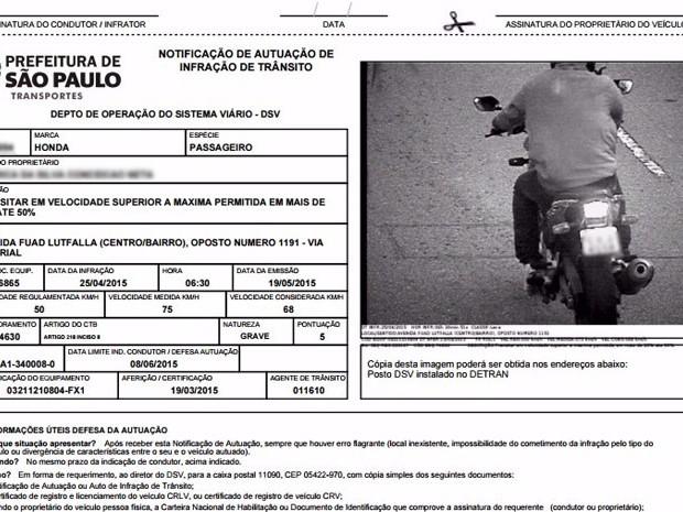 Multa sofrida por assaltante com moto roubada é usada como prova de inocência (Foto: Reprodução)