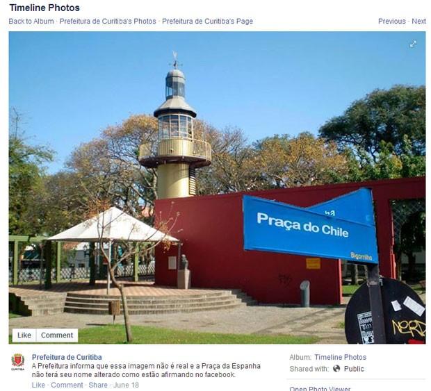 Praça Espanha 'muda' de nome em Curitba (Foto: Reprodução/Facebook)