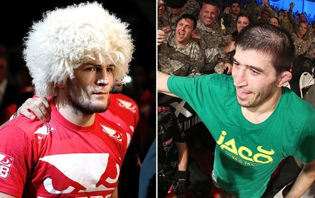 montagem UFC Khabib Nurmagomedov e Rustam Khabilov (Foto: Editoria de Arte)