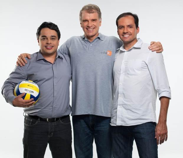 Sócios da eduK: Robson Catalan, cofundador e CRO da eduK, Bernardinho e Eduardo Lima, cofundador e CEO (Foto: Divulgação)