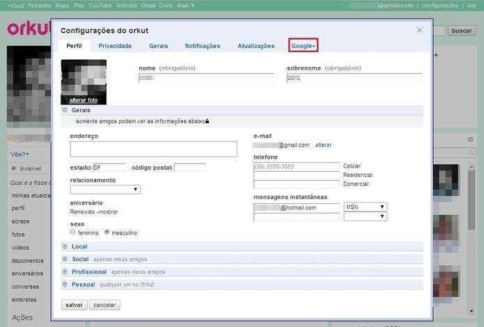 Seleciona a aba Google + da janela de Configurações (Foto: Reprodução/Paulo Finotti)
