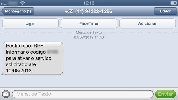 'SMS pirata' enviado pela Receita Federal. (Foto: Helton Simões Gomes/G1)