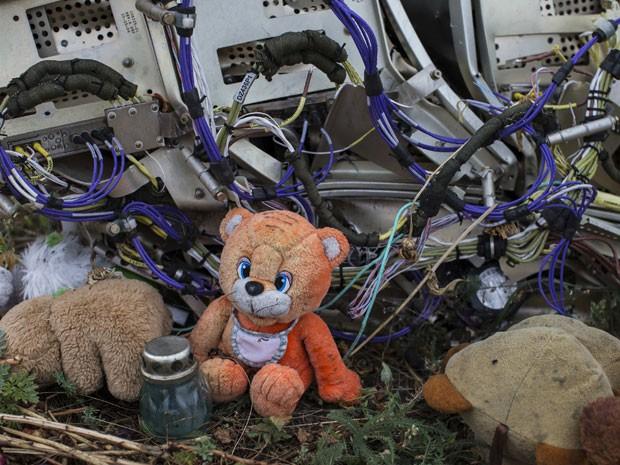 Urso de pelúcia é colocado junto a destroços do avião MH17 derrubado na região de Donetsk, na Ucrânia (Foto: Marko Djurica/Reuters)