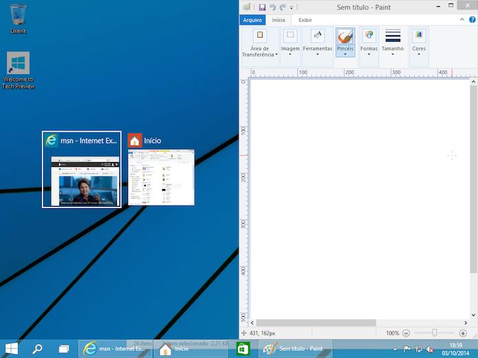 Encaixando aplicativos na tela, no Windows 10 (Foto: Reprodução/Edivaldo Brito)