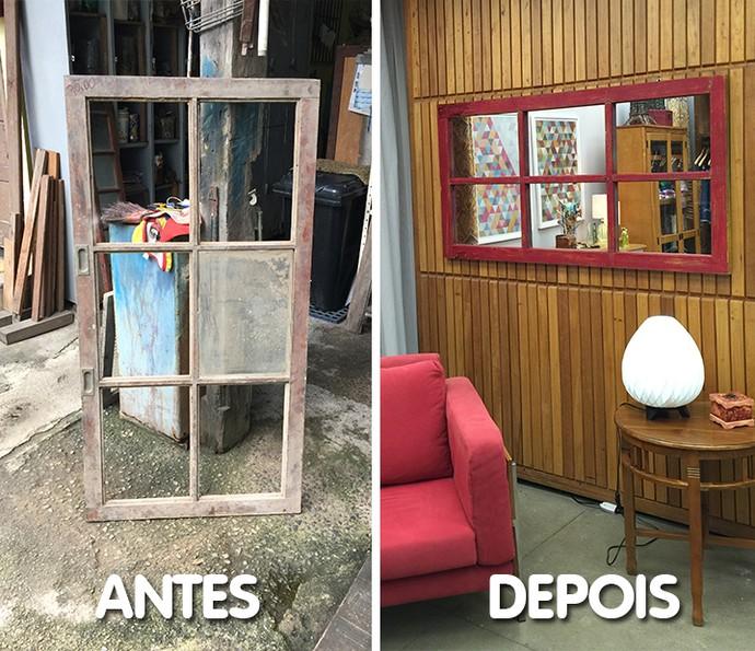 Confira o antes e depois da janela-espelho feita por Fábio Basso no 'É de Casa' (Foto: Divulgação)