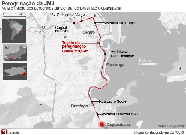 mapa_peregrinação (Foto: Editoria de Arte/G1)