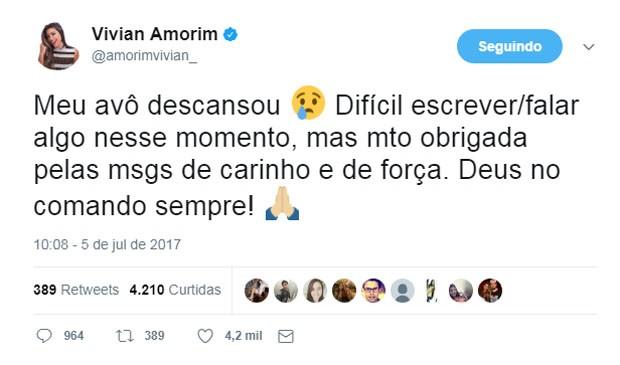 Vivian Amorim lamenta a morte do avô (Foto: Reprodução/Twitter)