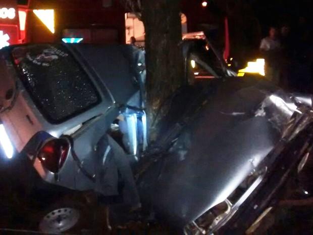 Carro foi destruído pela colisão no Oeste catarinense (Foto: Corpo de Bombeiros Militar de Campo Erê/Divulgação)