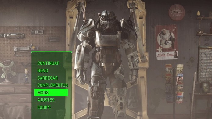 Com Fallout 4 atualizado para a versão 1.12 selecione Mods no menu (Foto: Reprodução/Rafael Monteiro)
